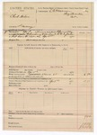 1890 April 3: Voucher, U.S. v Clint Norton, larceny; includes cost of warrant and mileage; B. Connelley, deputy marshal; E.B. Harrison, commissioner