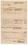 1890 May 09: Voucher, U.S. v. Jackson Thompson, larceny; includes cost of warrant, mileage, feeding prisoner, witness; Grant Johnson, deputy marshal; Nash Collins, Shane Collins, G.W. Williams, witnesses; Stephen Wheeler, commissioner; Jacob Yoes, U.S. marshal