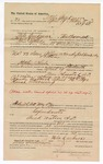 1890 May 8: Voucher, to Milo Creekmore, of Van Buren, Arkansas, for assisting R.B. Creekmore, deputy marshal, in U.S. v. Sam Allen and Hardy Colbert et al.; Jacob Yoes, U.S. marshal; Stephen Wheeler, commissioner; S.A. Miller, notary public