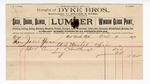 1890 October 09: Voucher, to Dyke Bros.; includes cost for cement used at U.S. marshal office; Jacob Yoes U.S. marshal