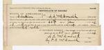 1892 January 25: Certificate, of record by A.A. McDonald, clerk; T.B. McDonald, deputy clerk; John Matthews, F.W. Boas, P.R. Davis, D.W. Patrick, John Vaughan, Daniel Edmondson, D.J. Fanny, S.A. Williams, F.T. Ray, witnesses