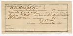1891 October 13: Voucher, U.S. v. Dave Lindlay, larceny; includes cost of warrant, mileage, feeding prisoner, witness; Robert J. Topping, deputy marshal; James Stephens, posse comitatus; Ed Gill, witness; Stephen Wheeler, commissioner