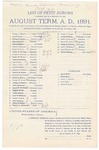 1891 October 28: Venire facias, in U.S. v. Frank Willow, maiming; commanding the summons of George A. Bryant, Joseph Bonner, Thomas C. Bethel, John J. Bonner, Alonzo Bouton, John W. Clayborn, Henry P. Dooly, Linley M. Deering, Joseph A. Duncan, Frank W. Dunn, James O. Eubanks, John Fishero, John A. Fisher, Henry P. Floyd, William C. Gentry, Francis M. Graham, James H. Hamilton, Alford P. Holt, George W. Hobbs, Agrippa T. Hopkins, Mack McKinney, Samuel T. McMasters, Hugh F. Mullen, Osborn McCall, John D. McCleary, Charles, Nichols, John Paterson, Henry K. Phillips, Obadiah C. Richmond, Porter A. Savage, Joseph Stafford, Britton Upchurch, Daniel W. Weld, Henry B. Wheeler, John F. Williams, John Williams Sr., Robert Whiting, petit jurors; James P. Mack, Frank Freer, Henry T. Burdick, B.J. Griffin, Henry Williams, alternate petit jurors; Stephen Wheeler, clerk