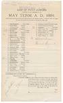 1891 May 21: Venire facias, in U.S. v. Thomas Vann, introducing spiritous liquors; commanding the summons of James M. Amerson, James N. Blyth, Joseph Boatwright, John M. Brinson, Ben Brent, Thomas W. Bugg, John D. Casey, Robert Cowing, William N. Counts, M. Clark, Thomas W. Deadman, Nathaniel B. Dearemore, Samuel J. Evans, William W. Eubanks, Solomon M. Hobbs, Robert Henderson, Sam L. Hogan, James A. Johnson, Franklin B. Kelley, Elijah C. Lively, William H. Lewis, Wiley May, A. Julian Miller, Thomas D. Norris, Benjamin A. Peck, Arthur V. Pirtle, Green Parrott, Alex Parker, Aristides B. Pinson, Henderson C. Rankin, Frederick Stoppleman, James M. Smith, John M. Taylor, Charles J. Taylor, Fielding Tibbetts, Josepheus S. Upton, Andrew Warren, Albert Bruce, Earnest Speaker, petit jurors; Stephen Wheeler, clerk