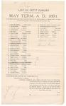 1891 May 4: Venire facias, commanding the summons of James M. Amerson, James N. Blyth, Joseph Boatwright, John M. Brinson, Ben Brent, Thomas W. Bugg, John D. Casey, Robert Cowing, William N. Counts, M. Clark, Thomas W. Deadman, Nathaniel B. Dearemore, Samuel J. Evans, William W. Eubanks, Solomon M. Hobbs, Robert Henderson, Sam L. Hogan, James A. Johnson, Franklin B. Kelley, Elijah C. Lively, William H. Lewis, Wiley May, A. Julian Miller, Thomas D. Norris, Benjamin A. Peck, Arthur V. Pirtle, Green Parrott, Alex Parker, Aristides B. Pinson, Henderson C. Rankin, Frederick Stoppleman, James M. Smith, John M. Taylor, Charles J. Taylor, Fielding Tibbetts, Josepheus S. Upton, Andrew Warren, Albert Bruce, Earnest Speaker, petit jurors; Stephen Wheeler, clerk
