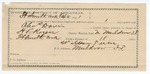 1891 October 02: Voucher, U.S. v. Charles Davis, larceny; includes cost of warrant, mileage, subsistence, witnesses; H.L. Rogers, deputy marshal; Will Parker, guard; W.O. Benton, W.R. Lewis, William Polland, Jerry Polland, witnesses; Stephen Wheeler, commissioner, clerk; Jacob Yoes, U.S. marshal