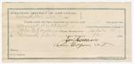 1891 October 20: Voucher, U.S. v. Samuel Hofford, larceny; includes cost of warrant, mileage, witnesses; John M. Taylor, deputy marshal; James Cassiva, guard; Joseph Story, F.E. McDermott, J. Casover, witnesses; Stephen Wheeler, clerk; J.M. Dodge, deputy clerk