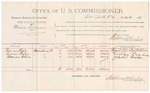 1891 October 21: Voucher, U.S. v. Moses Telman, introducing spiritous liquors; includes cost of witnesses and mileage; Thomas Fife, George Fisher, Thomas Watson, witnesses; R.B. Creekmore, deputy marshal; Stephen Wheeler, commissioner; Jacob Yoes, U.S. marshal