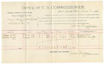 1891 November 6: Voucher, U.S. v. Frank Morgan, passing counterfeit; includes cost of mileage, witnesses; W.A. Davis, Oliver Harris, witnesses; Stephen Wheeler, commissioner; Jacob Yoes, U.S. marshal