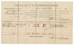1891 November 12: Voucher, U.S. v. W.K. Gridy, introducing spiritous liquors; includes cost of mileage, witnesses; William Harrington, Harris Dykes, W.L. McDonald, witnesses; Stephen Wheeler, commissioner; S.A. Williams, witness of signatures; Jacob Yoes, U.S. marshal
