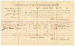 1891 November 14: Voucher, U.S. v. James Turning, larceny; includes cost of witnesses, mileage; W.A. Patton, Maggie Patton, witnesses; Stephen Wheeler, commissioner; Jacob Yoes, U.S. marshal