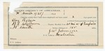 1891 November 25: Voucher, U.S. v. Clay Roper, introducing liquor; includes cost of mileage, warrant, subsistence, witnesses; B.T. Shelburne, deputy marshal; J.W. Johnson, guard; Bud Clay, Alex Jenning, William Selorlee, Tobe Mathis, witnesses; Stephen Wheeler, clerk; J.M. Dodge, deputy clerk; Jacob Yoes, U.S. marshal