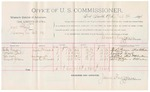1891 October 26: Voucher, U.S. v. Jim Floyd, larceny; includes cost of mileages and witnesses; R.B. Creekmore, deputy marshal; Tackey Grayson, Leonard Beck, Yah noh, Leonard Gibson, witnesses; James Brizzolara, commissioner; Jacob Yoes, U.S. marshal