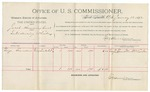 1892 January 12: Voucher, U.S. v. Jacob Hummingbird, introducing whiskey; includes costs of per diem and mileage; George Saunders, witness; George Cooper, witness of signature; E.B. Harrison, commissioner; Stephen Wheeler, clerk; Jacob Yoes, U.S. marshal