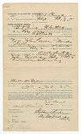 1892 March 03: Voucher, U.S. v. John Groves, murder; includes costs of service as posse comitatus; Bud Parnell, posse comitatus; R.J. Scott, deputy marshal; Stephen Wheeler, commissioner; J.M. Dodge, deputy clerk; Jacob Yoes, U.S. marshal
