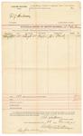 1892 March 28: Voucher, U.S. v. Tony Henderson; includes cost of service of subpoena; Joe Ward, witness; B.T. Shelburne, deputy marshal; Stephen Wheeler, clerk; J.M. Dodge, deputy clerk; Jacob Yoes, U.S. marshal