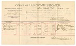 1892 February 23: Voucher, U.S. v. Johnson Bird, introducing spirituous liquors; includes costs of per diem and mileage; Taylor Duncan, Ben Barrs, Rufus Cochrane, James Starr, witness; G.S. Whits, witness of signature; Jacob Yoes, U.S. marshal; Stephen Wheeler, commissioner
