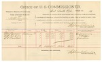 1892 February 29: Voucher, U.S. v. W.B. Miller, violating internal revenue laws; includes costs of per diem and mileage; George Brown, W.E. Rogers, B.C. Cantrell, witnesses; Jacob Yoes, U.S. marshal; Stephen Wheeler, commissioner