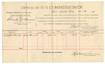 1892 March 01: Voucher, U.S. v. Roland McKinney, introducing spirituous liquors; includes costs of per diem and mileage; Adolph Smith, witness; Jacob Yoes, U.S. marshal; Stephen Wheeler, commissioner