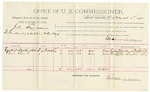 1892 March 01: Voucher, U.S. v. John Sanders, introducing and selling whiskey; includes costs of per diem and mileage; Ezekiel Walkingstick, Dave Bark, witnesses; George Cooper, witness to signatures; Jacob Yoes, U.S. marshal; E.B. Harrison, commissioner; Stephen Wheeler, clerk