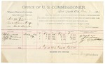1892 March 07: Voucher, U.S. v. Duff Jones, introducing spirituous liquors; includes costs of per diem and mileage; B.C. Cantrell, J.W. Newsome, J.E. Newsome, witnesses; Jacob Yoes, U.S marshal; James Brizzolara, commissioner; Stephen Wheeler, clerk