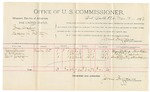 1892 March 10: Voucher, U.S. v. Bree Draper, larceny; includes costs of per diem and mileage; Mary Sharpe, Thomas E. Holden, Scott Gentry, witnesses; R.B. Cucknin, witness to signature; Jacob Yoes, U.S. marshal; James Brizzolara, commissioner; Stephen Wheeler, clerk