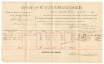 1892 March 12: Voucher, U.S. v. James Stacey, violating internal revenue laws; includes costs of per diem and mileage; Jesse Sparks, Aaron Sparks, witnesses; Jacob Yoes, U.S. marshal; Stephen Wheeler, commissioner