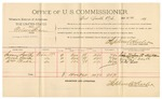 1892 March 15: Voucher, U.S. v. Solomon Johnson, larceny; includes costs of per diem and mileage; D.D. Mays, Simon Meggs, J.T. Swope, witnesses; R.C. Cocker, witness to signature; received of Jacob Yoes, U.S. marshal; Stephen Wheeler, commissioner and clerk
