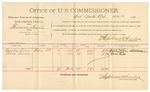1892 March 28: Voucher, U.S. v. Reuben Hall, introducing spirituous liquor; includes costs of service of warrant, mileage on writ; George Fallen, Alexandra Connelly, witnesses; Wash Patrick, posse comitatus; Bud Parnell, deputy marshal; James Brizzolara, commissioner