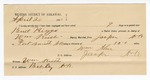1891 April 20: Voucher, U.S. v. Bud Riggs, violating internal revenue law; William Keith, deputy marshal; Jacob Yoes, U.S. marshal; E.B. Harrison, commissioner; William Allen, guard; Stephen Wheeler, clerk; G.E. Pruitt, A.M. Pherson, Frank Brusel, witnesses; includes cost of mileage, service and subsistence for self, horse and prisoner
