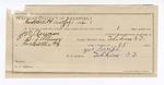 1892 July 5: Voucher, U.S. v. J.W. Newsom, introducing liquor; S.T. Minor, deputy marshal; Jacob Yoes, U.S. marshal; G.W. Swift, guard; Jacob Benton, William McKinney, Hagan Johnson, witnesses; James Bizzolara, commissioner; Stephen Wheeler, clerk; I.M. Dodge, deputy clerk; includes cost mileage, service and subsistence for self, horse and prisoner